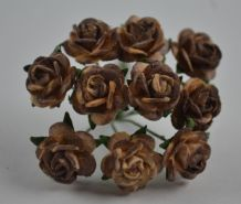 1 cm CHOCOLATE BROWN Mulberry Paper Roses